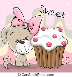 Greeting card Cute Puppy with cake