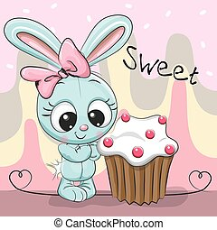 Greeting card Cute Rabbit with cake