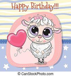 Greeting card Cute Sheep girl with balloon