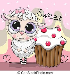 Greeting card Cute Sheep with cake