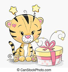 Greeting card cute Tiger with gift