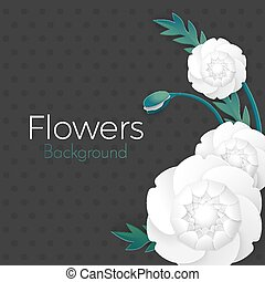 Greeting card design for weddings, birthday poster vector. Paper flowers background with place for text