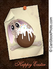 Easter Bunny With Chocolate Egg.