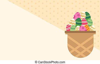 Greeting card easter egg in basket