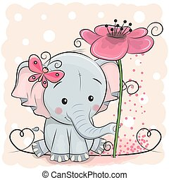 Greeting card Elephant with flower on a pink background