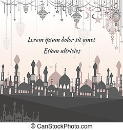 Greeting card ethnic with silhouette of a mosque and text for the congratulations lights, stars, moon