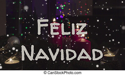 Greeting card Feliz Navidad, Merry Christmas in spanish language