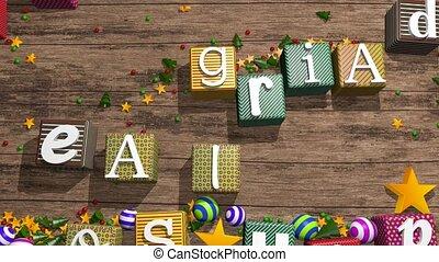 Greeting card: Feliz Navidad y Prospero Ano Nuevo, Merry...