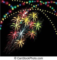 Greeting card. Fireworks. Bright lights illustration