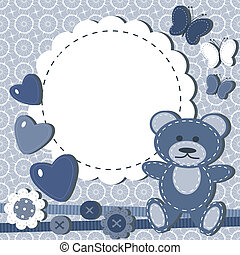 Greeting card for baby with bear