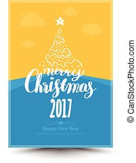 Greeting card for Christmas and Happy New Year lettering.
