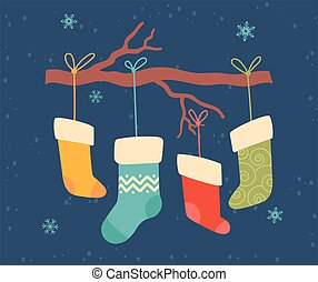 Greeting card for Christmas and New Year with cute colorful socks hanging from a branch