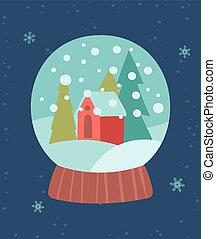 Greeting card for Christmas and New Year with little christmas house in a ball