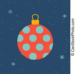 Greeting card for Christmas and New Year with little christmas tree toy ball