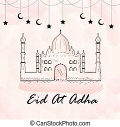 Greeting card for eid ul Adha. Watercolor style. Muslim...