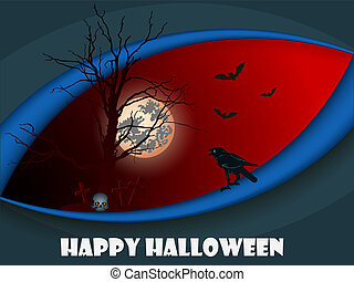 Greeting card for Halloween with a black crow on a red background.
