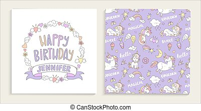 Greeting card for happy birthday with unicorns.