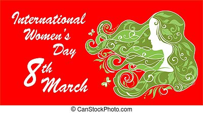 Greeting card for International Women's Day March 8th with woman profile and abstract floral pattern.