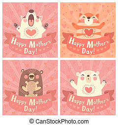 Greeting card for mom with cute animals.