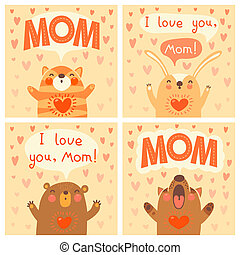 Greeting card for mom with cute animals. Vector illustration...