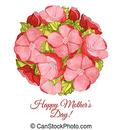 Greeting card for Mothers day with flowers of hydrangea