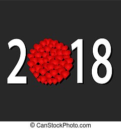 Greeting card for new 2018 year with red heart design on dark background