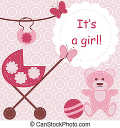 greeting card for newborn girl on pink lace background