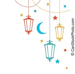 Greeting Card for Ramadan Kareem with Lamps