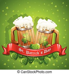 Greeting card for St. Patricks Day with a mug of ale and a red ribbon