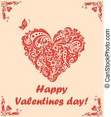 Greeting card for Valentines day with decorative red heart