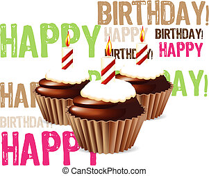 greeting card from chocolate Birthday cupcake with candle and cream 03