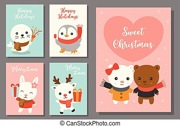 greeting card hand drawn doodle Christmas set with cute character in flat design