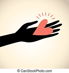 greeting card hand with heart
