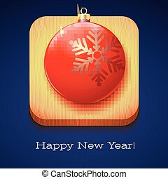 Greeting card Happy New Year. Red Christmas ball with a large snowflake on wooden background. Volumetric 3D icon with shadows and reflexes, 3D illustration