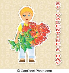 Greeting card Happy Valentine's Day boy with flowers in hands