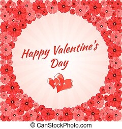 Greeting Card Happy Valentine's Day, hearts,