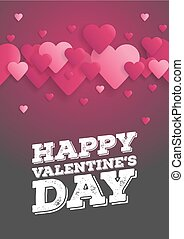 Greeting Card Happy Valentine's Day. Lettering with hearts on the background. Vector illustration