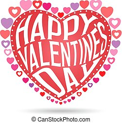Greeting Card. Happy Valentines Day Text in Heart Background