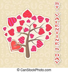 Greeting card Happy Valentine's day tree with leaves of hearts