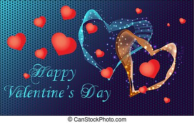 Greeting card Happy Valentines day  with  hearts. Vector illustration.