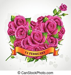 Greeting card Happy Valentines Day with roses