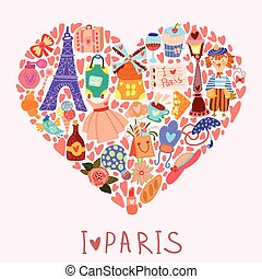 Greeting card-I love Paris. With many vector cute elements Stylish design element in bright colors
