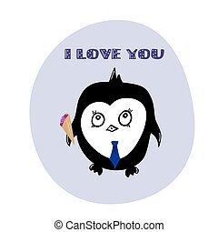 greeting card i love you with penguin, vector illustration