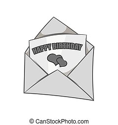 Greeting card icon, black monochrome style