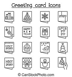 Greeting card icon set in thib line style