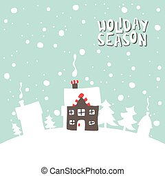 Greeting card. Image gingerbread house on a snowy background.