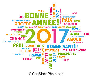 Greeting card in French language - Colorful greeting French...