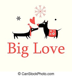Greeting card in love dogs