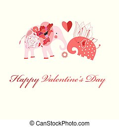 Greeting card in love with elephants