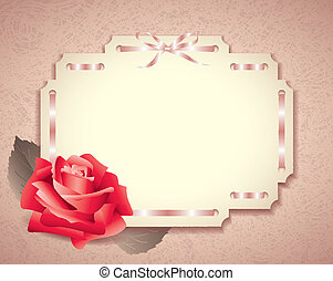 Greeting card in retro style with rose and ribbons
